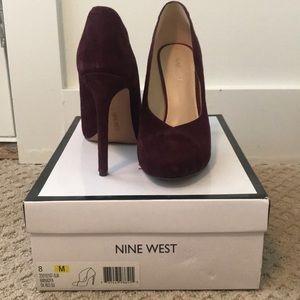 Dark red suede (purple-ish) heels